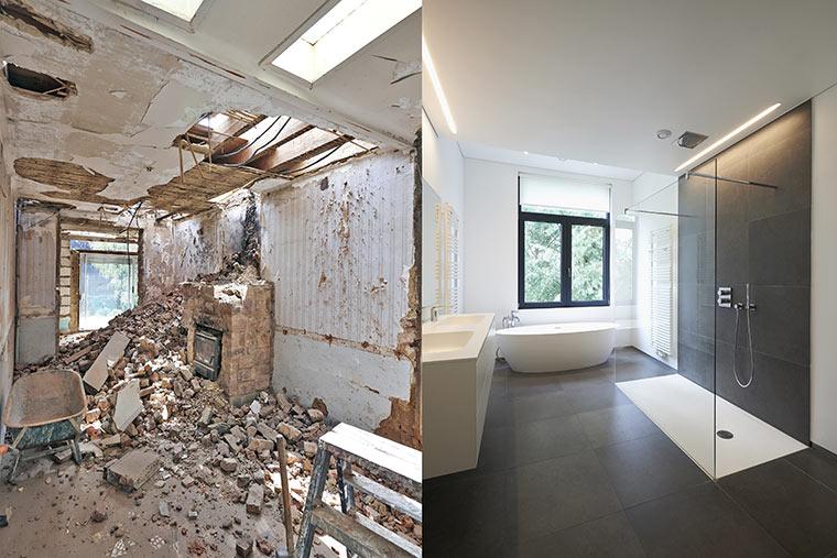 Sanierung von Räumen inklusive Boden